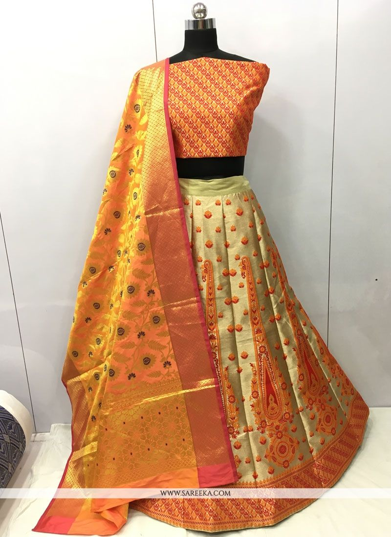 Weaving Work Jacquard Silk Lehenga Choli