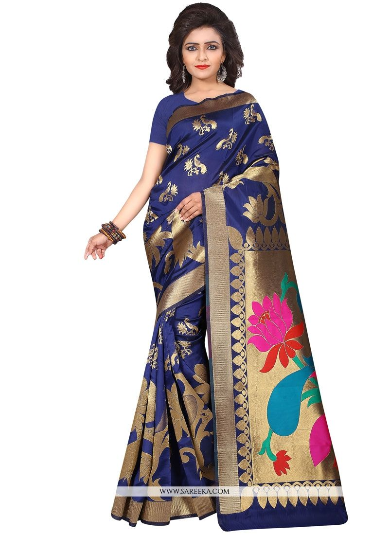 Weaving Work Navy Blue Art Silk Designer Traditional Saree