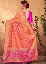 Weaving Work Orange Art Silk Traditional  Saree