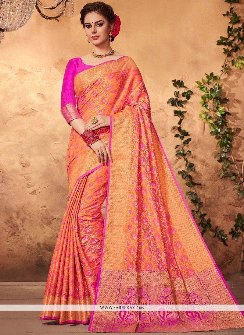 Weaving Work Orange Art Silk Traditional  Saree