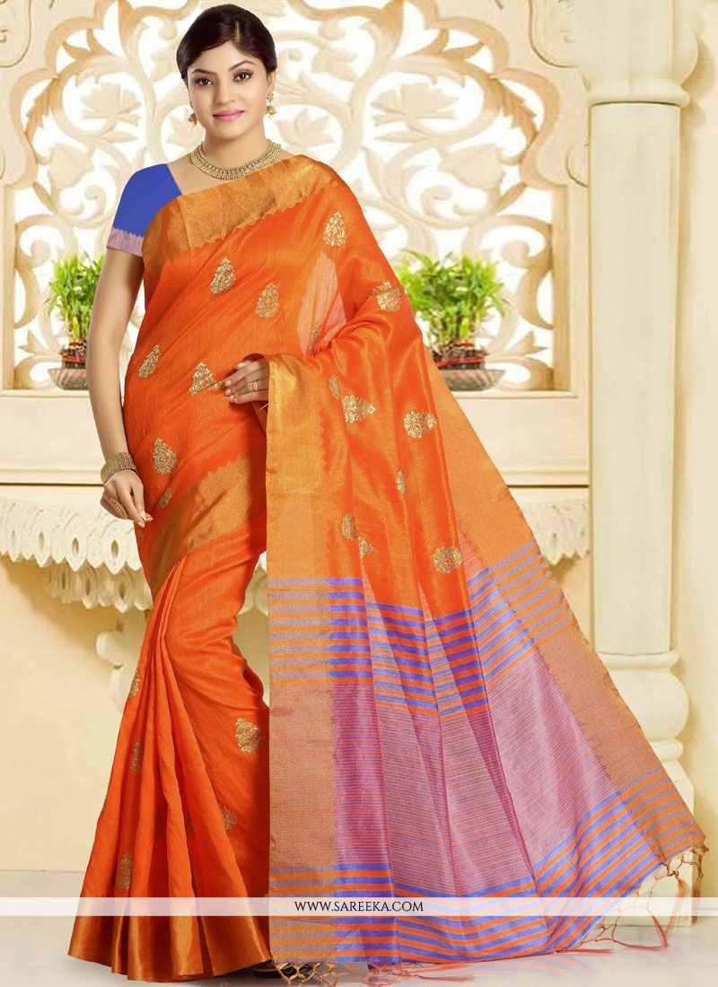Weaving Work Orange Traditional Designer Saree