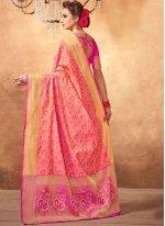 Weaving Work Pink Designer Traditional Saree