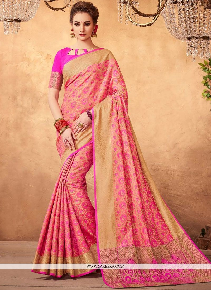 Weaving Work Pink Designer Traditional Saree