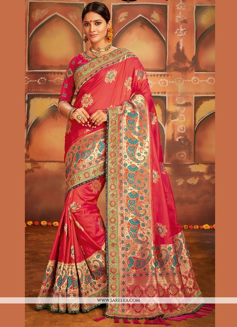 Weaving Work Red Designer Traditional Saree