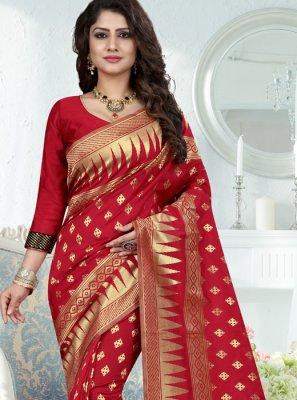Weaving Work Red Traditional Designer Saree