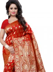 Weaving Work Red Traditional  Saree