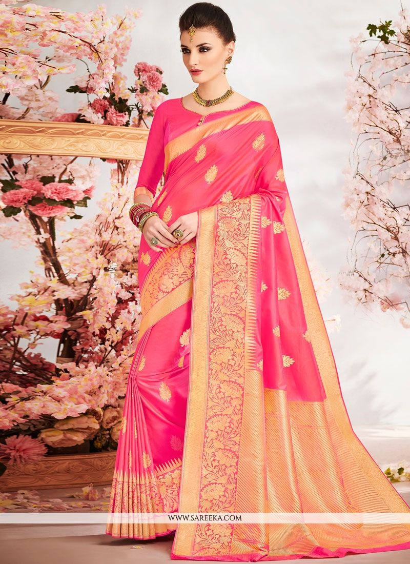 Weaving Work Rose Pink Art Silk Traditional Designer Saree