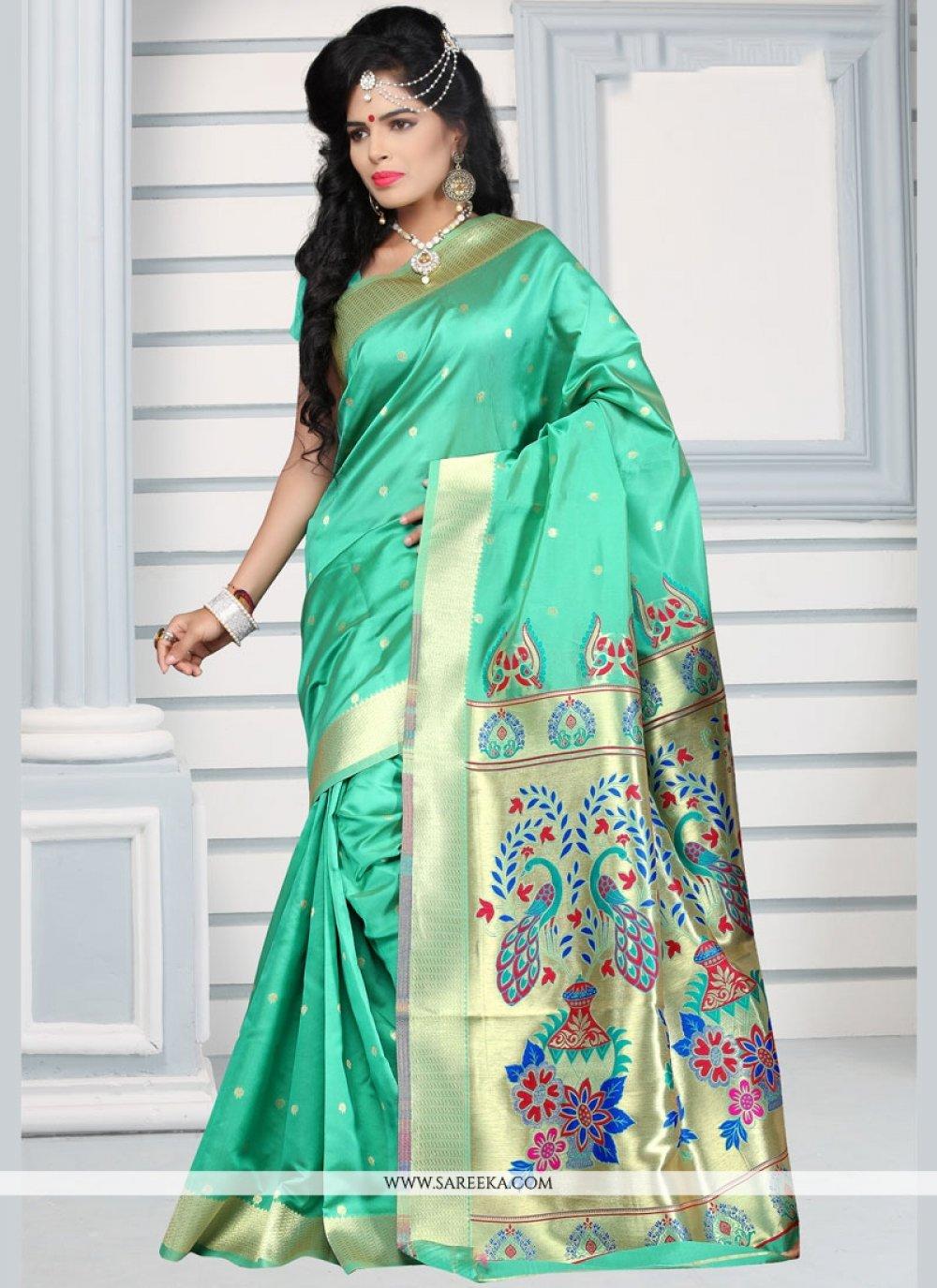 Weaving Work Sea Green Designer Traditional Saree