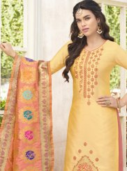 Weaving Work Yellow Cotton Satin Designer Palazzo Suit