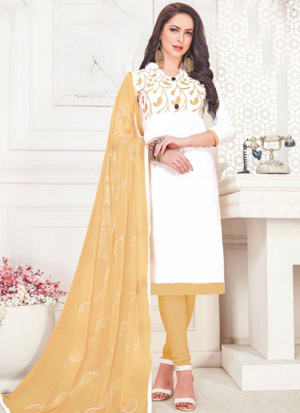 White Casual Churidar Suit