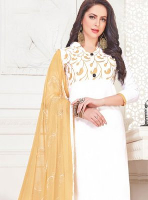 White Casual Churidar Suit