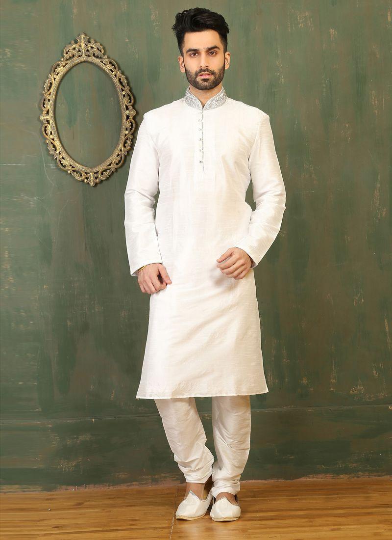 White Dupion Silk Kurta Pyjama