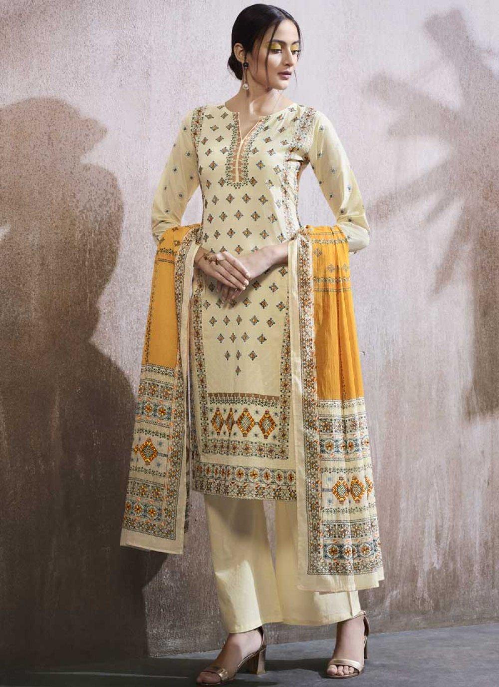 White Embroidered Cotton Lawn Designer Palazzo Suit