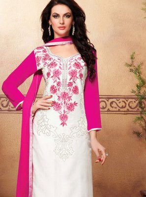White Embroidered Festival Churidar Suit