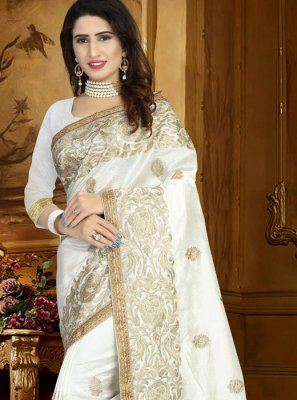 White Embroidered Work Art Silk Traditional Designer Saree