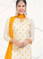 White Embroidered Work Churidar Suit