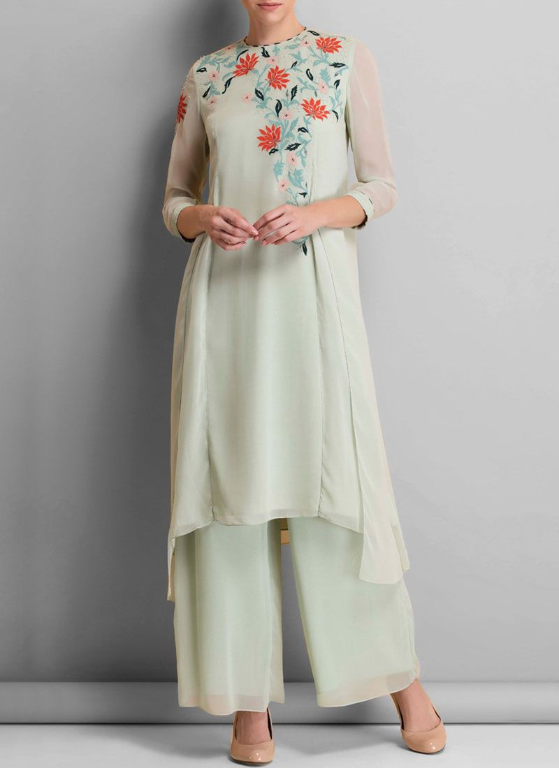 White Embroidered Work Faux Georgette Designer Palazzo Suit