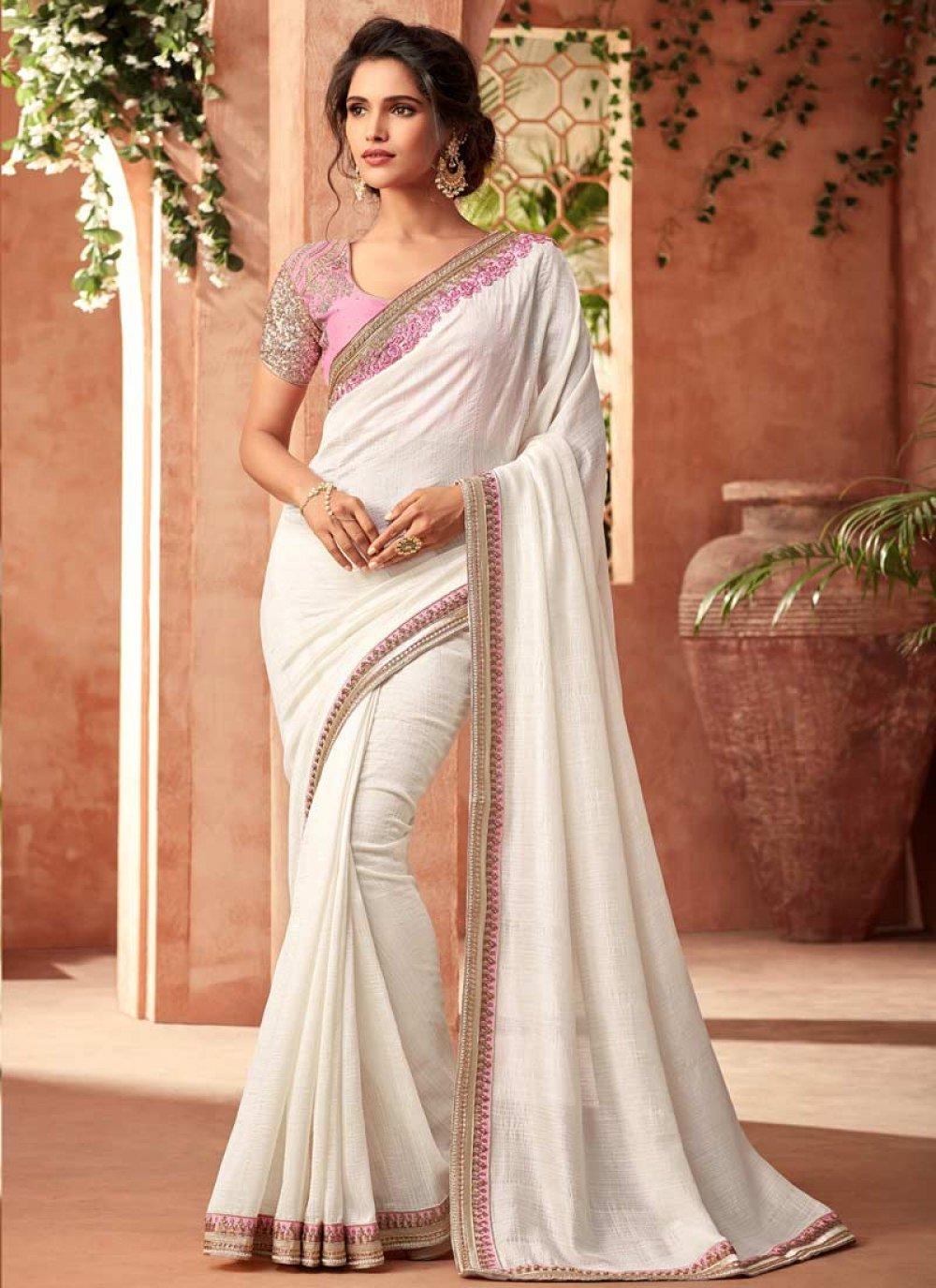White Patch Border Art Silk Designer Traditional Saree