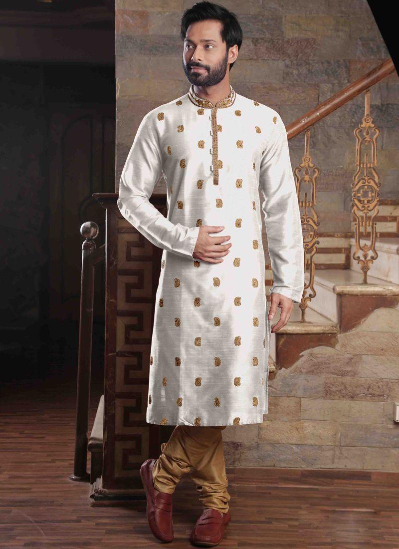 White Poly Silk Reception Kurta Pyjama