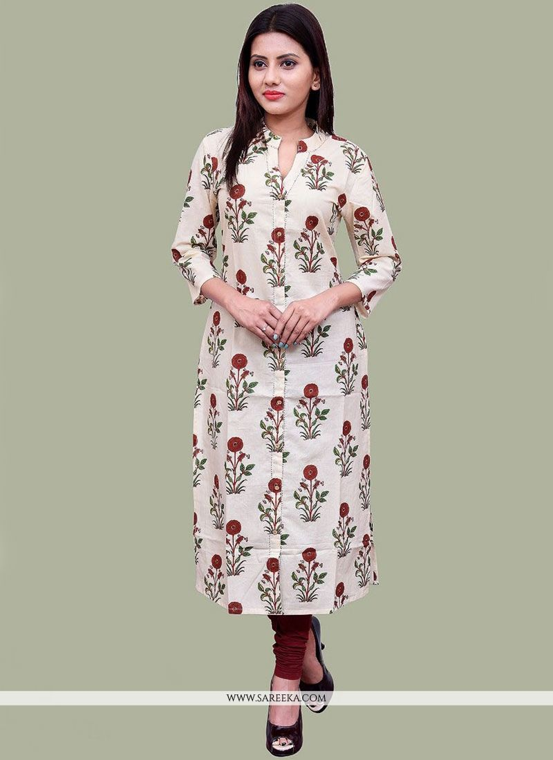 White Print Work Cotton   Party Wear Kurti