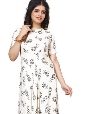 White Rayon Print Party Wear Kurti