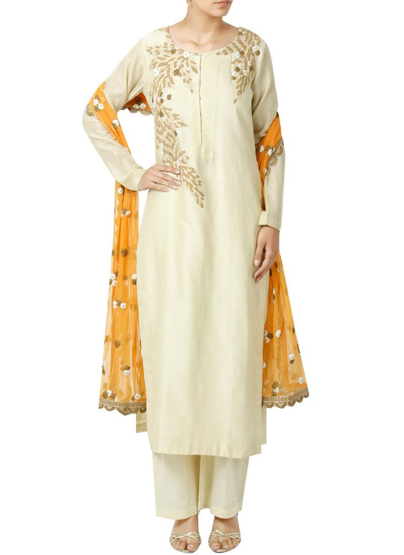 White Resham Work Art Silk Designer Palazzo Suit