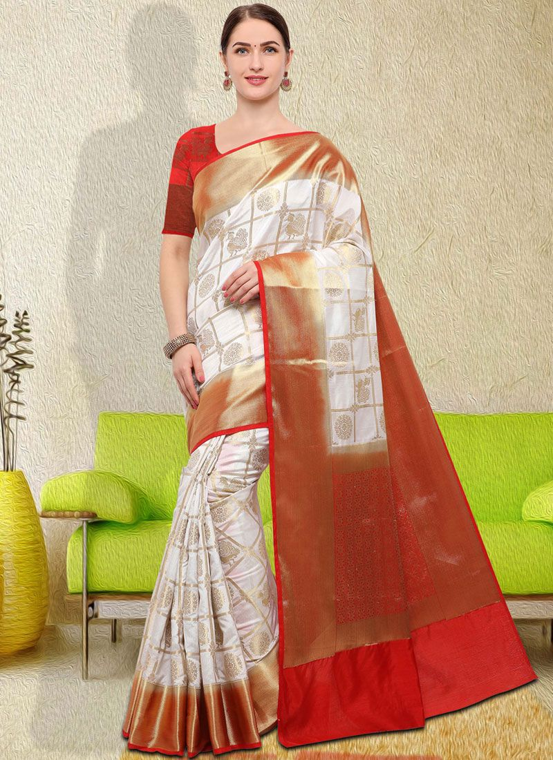 8218d16c5a033 Buy White Weaving Classic Saree Online -