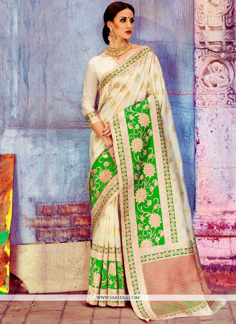 White Weaving Work Art Silk Traditional Designer Saree