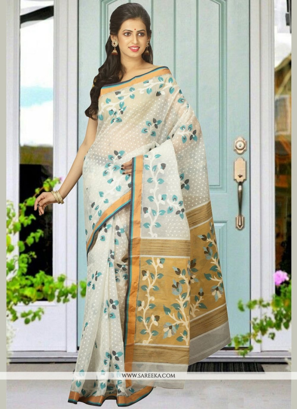 White woven Work Cotton Silk Designer Traditional Saree