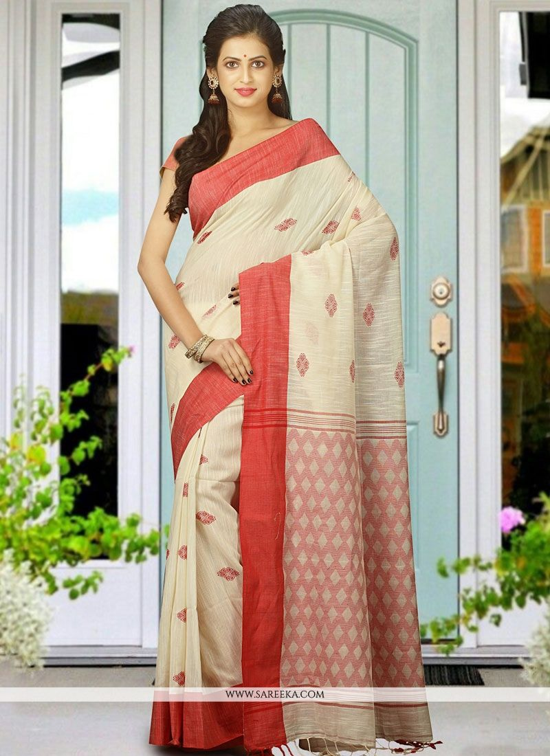 White woven Work Khadi Designer Traditional Saree