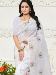 White Zari Work Banglori Silk Saree