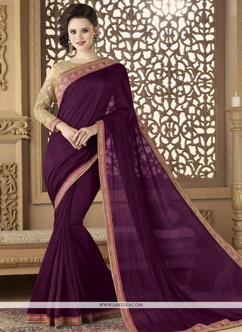 Wine Art Silk Designer Traditional Saree
