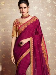Wine Patch Border Faux Georgette Classic Designer Saree