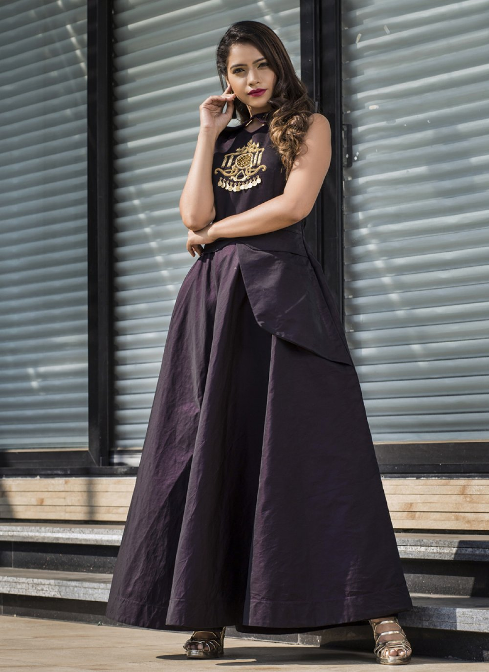 Wine Resham Readymade Gown