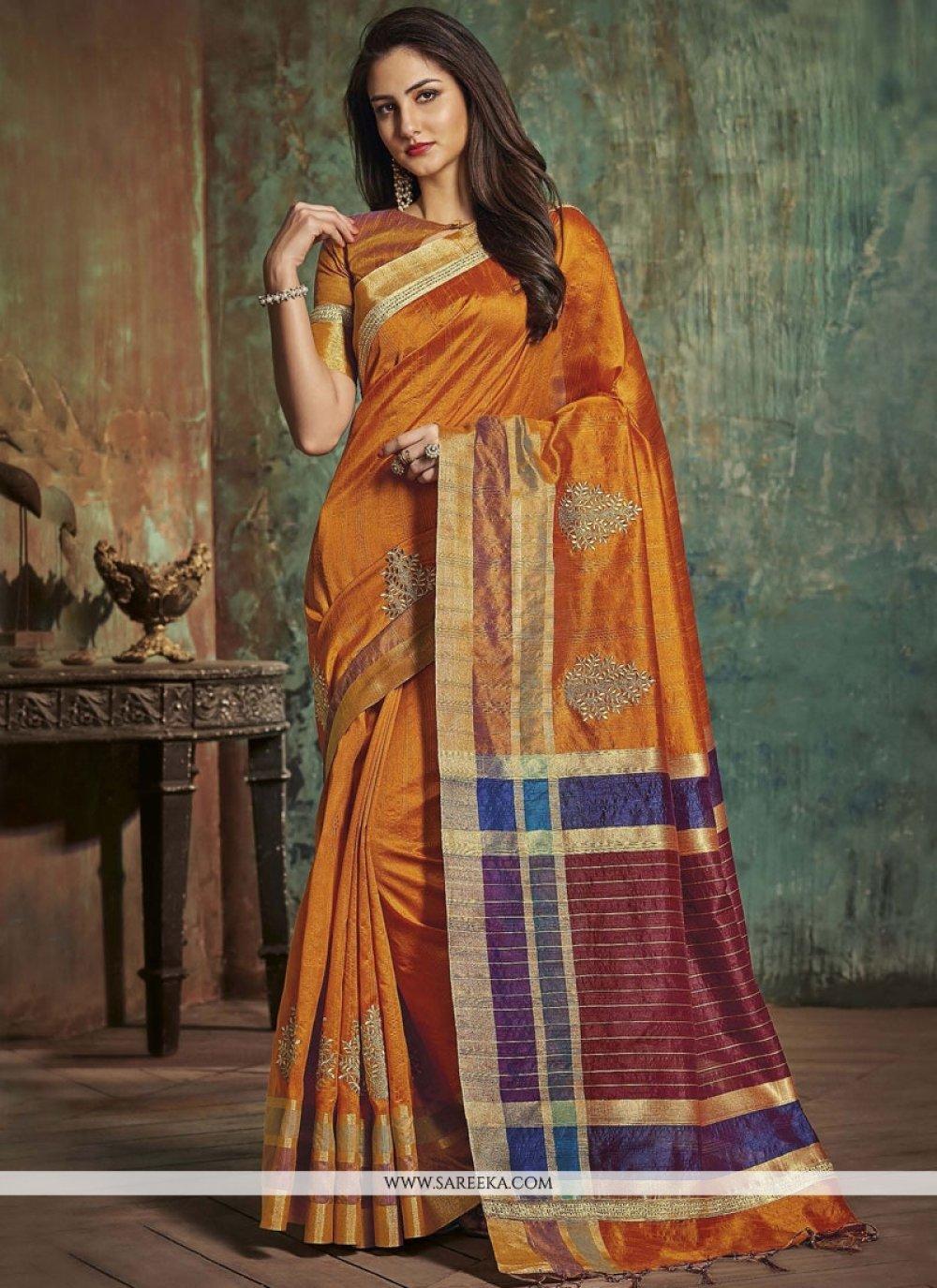 woven Art Silk Traditional Designer Saree in Orange