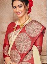Woven Art Silk Traditional Saree in Beige