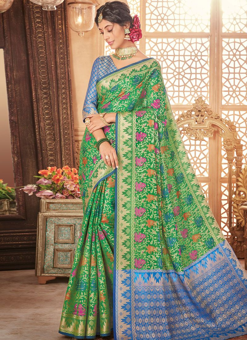 woven Art Silk Traditional  Saree in Green