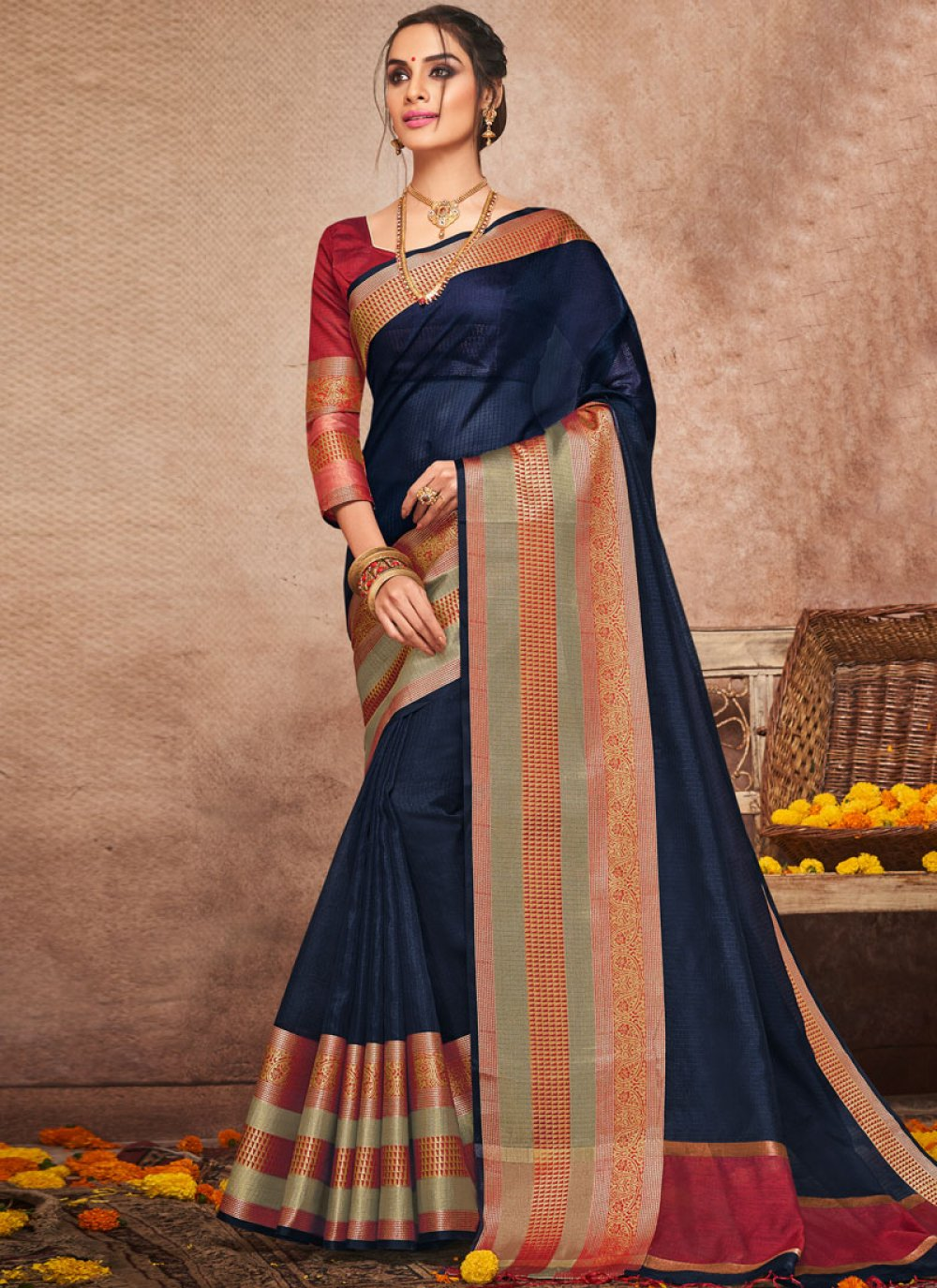 Woven Art Silk Traditional Saree in Navy Blue