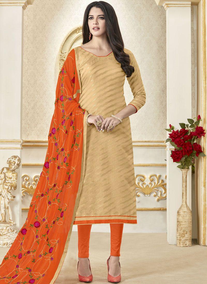 Woven Banarasi Silk Beige Churidar Salwar Suit