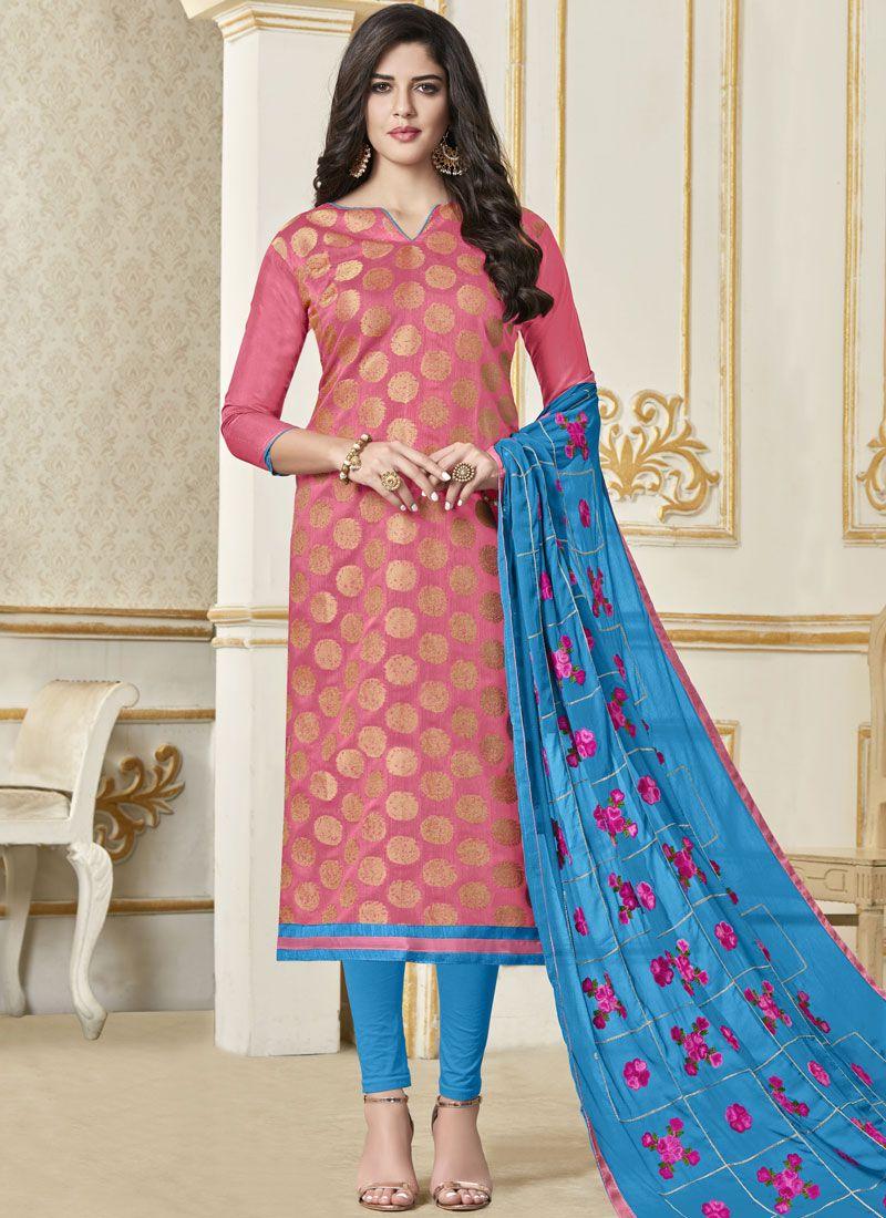 Woven Banarasi Silk Pink Salwar Kameez