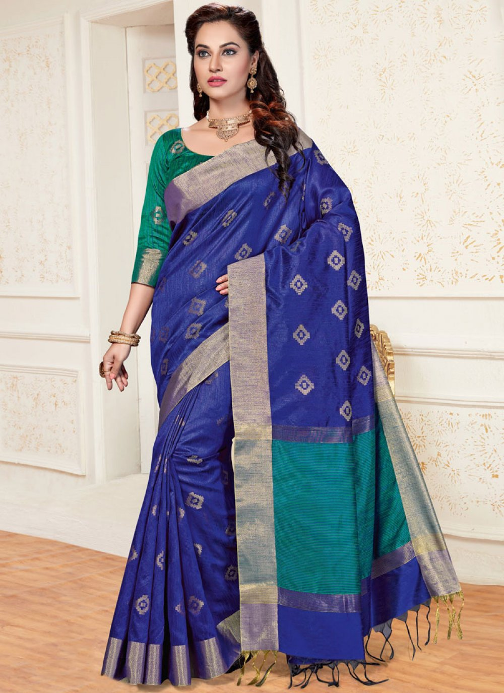 Woven Blue Chanderi Traditional  Saree