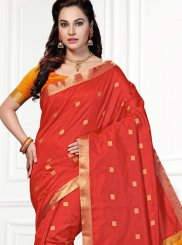 Woven Chanderi Traditional  Saree in Red