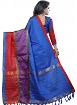 Woven Cotton Silk Casual Saree in Blue