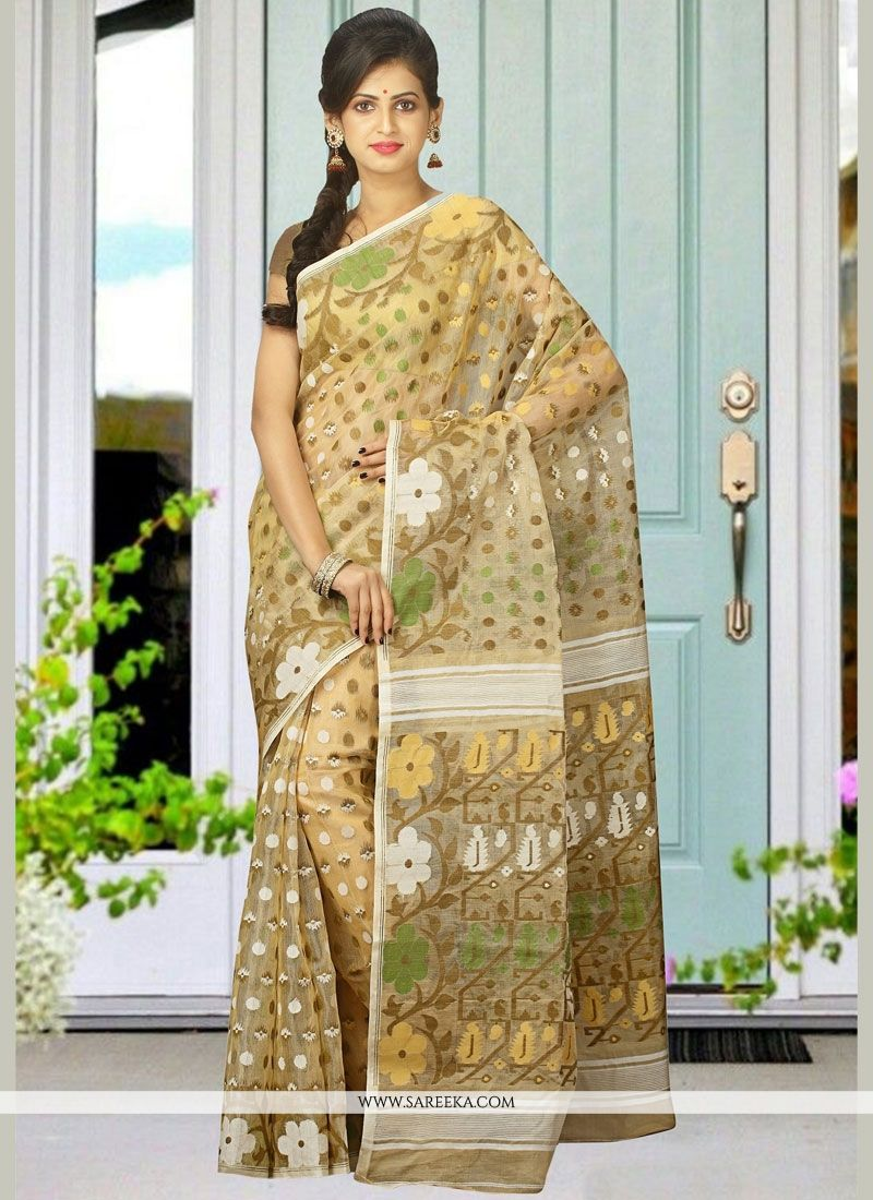 woven Cotton Silk Designer Traditional Saree in Beige