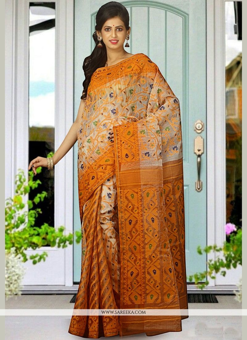 woven Cotton Silk Traditional Designer Saree in Beige
