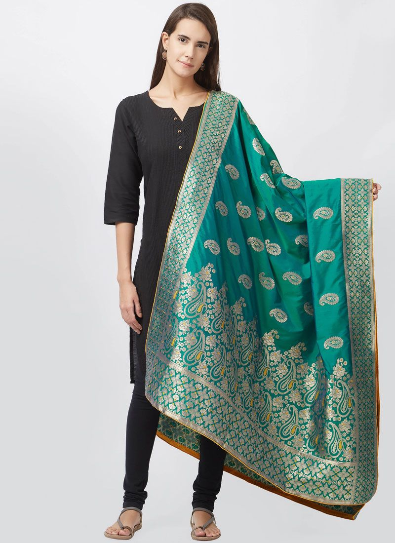 woven Work Art Silk Black Churidar Suit