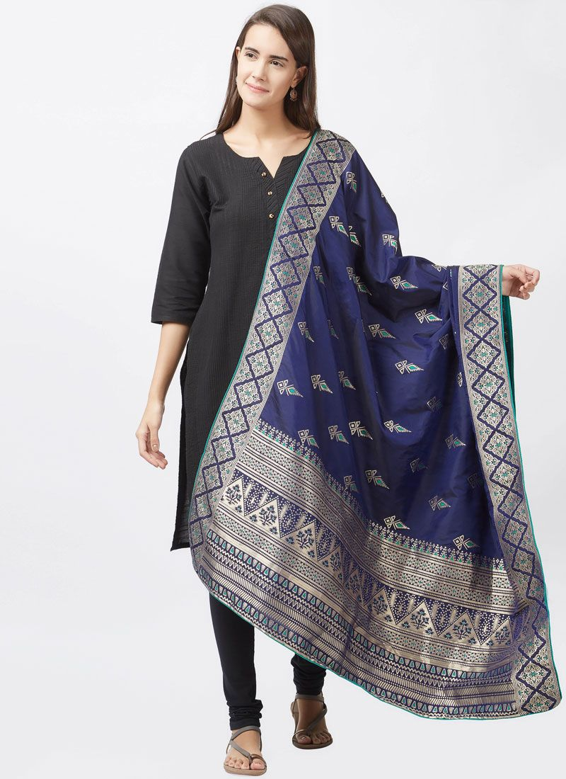 woven Work Black Art Silk Churidar Suit