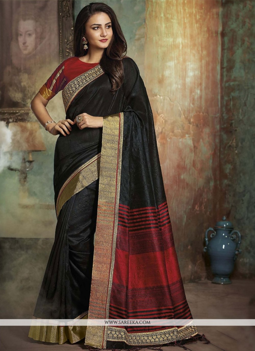 woven Work Black Designer Traditional Saree
