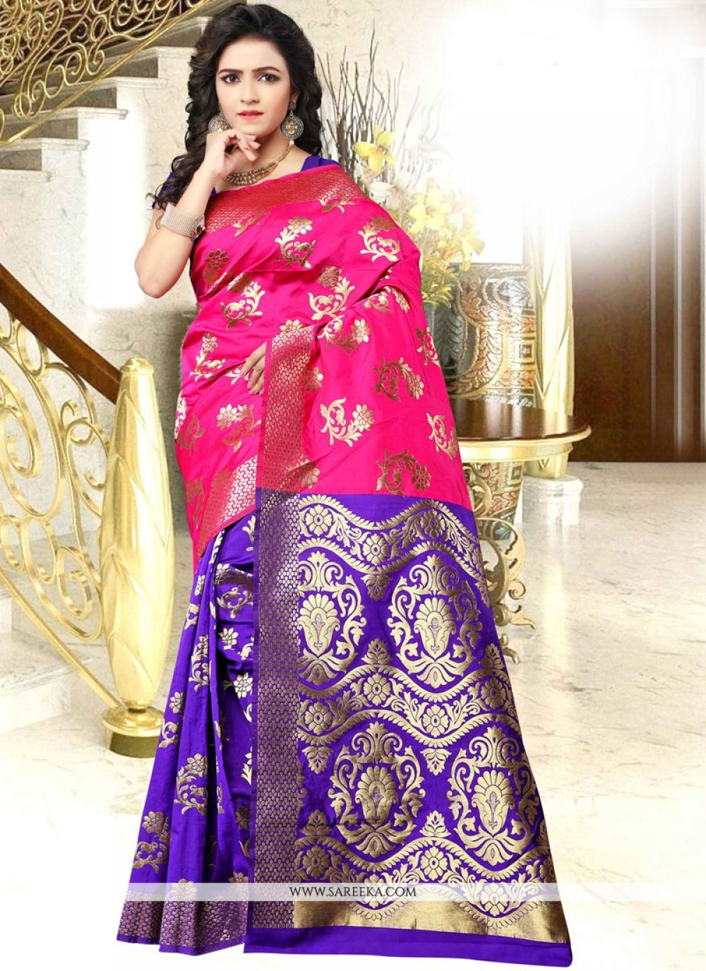 woven Work Blue and Hot Pink Traditional Designer Saree