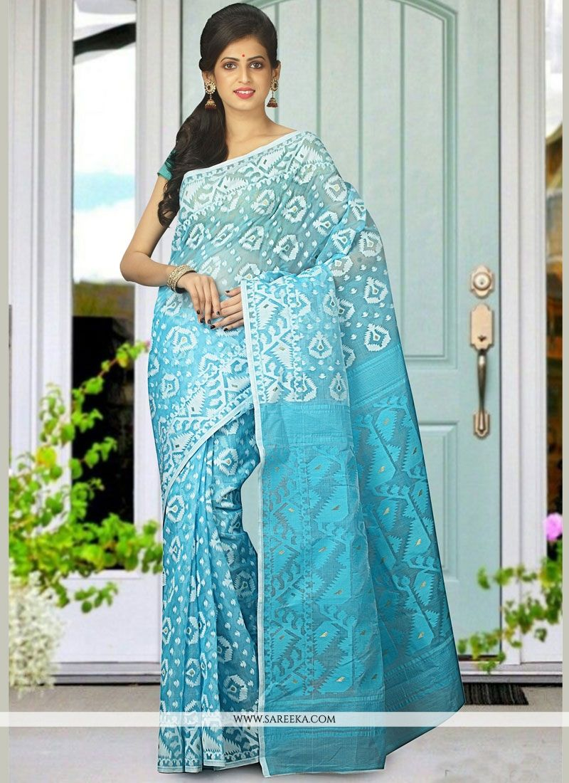 woven Work Blue Traditional  Saree